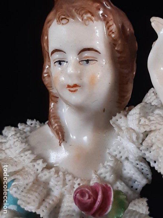 Antigüedades: Bailarina. Porcelana. Vestido puntillas. Dresden. Alemania. Siglo XIX-XX. - Foto 15 - 195814425
