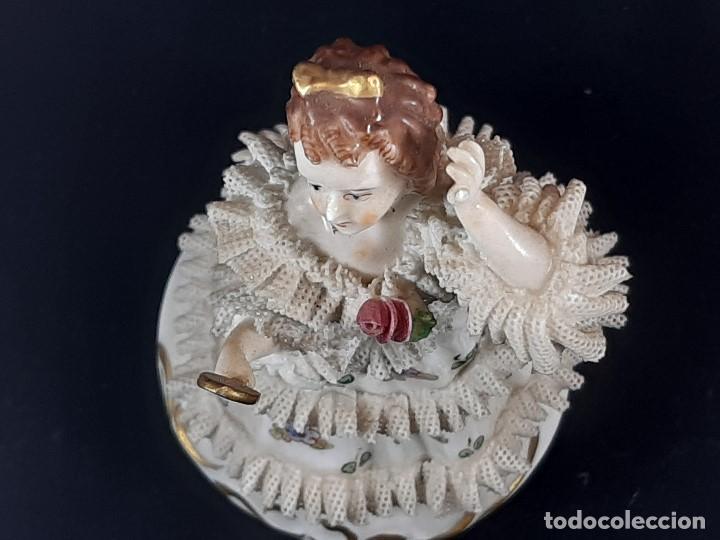 Antigüedades: Bailarina. Porcelana. Vestido puntillas. Dresden. Alemania. Siglo XIX-XX. - Foto 16 - 195814425