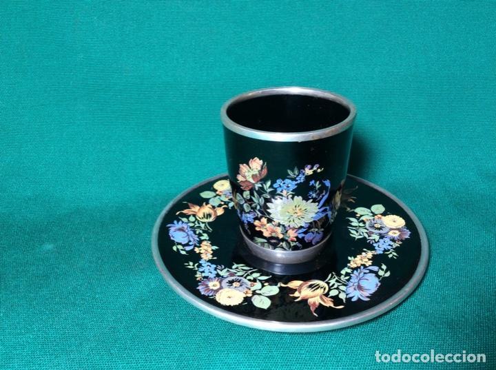 Antigüedades: Juego de café de plata y esmalte - Foto 2 - 195877791