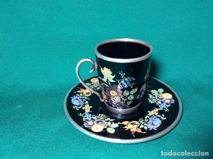 Antigüedades: Juego de café de plata y esmalte - Foto 4 - 195877791