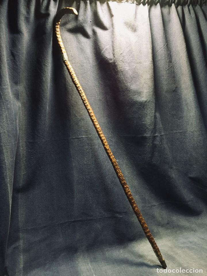 Antigüedades: baston nispero interior vara metalica patina arte popular s xix virola plata labrada 86,5cms - Foto 17 - 195908508
