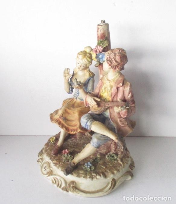 Antigüedades: LAMPARA DE PORCELANA - COMPOSICION PAREJA ROMANTICA DIECIOCHESCA - BASSANO - Foto 3 - 195926041