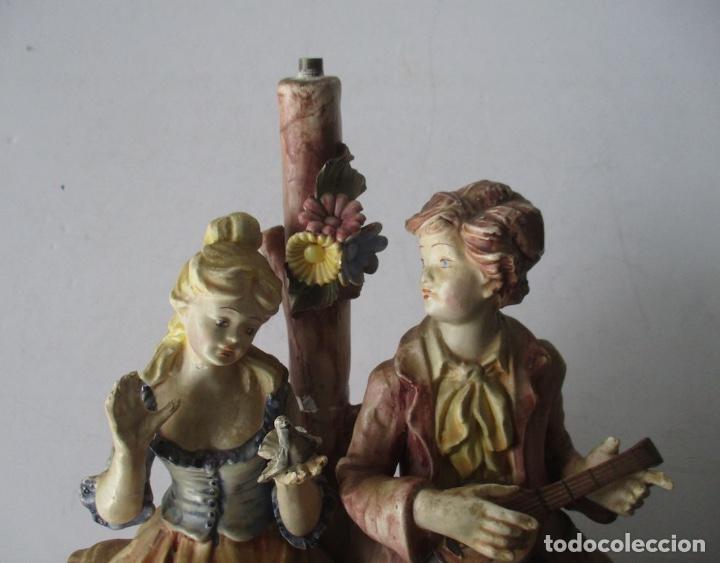 Antigüedades: LAMPARA DE PORCELANA - COMPOSICION PAREJA ROMANTICA DIECIOCHESCA - BASSANO - Foto 5 - 195926041