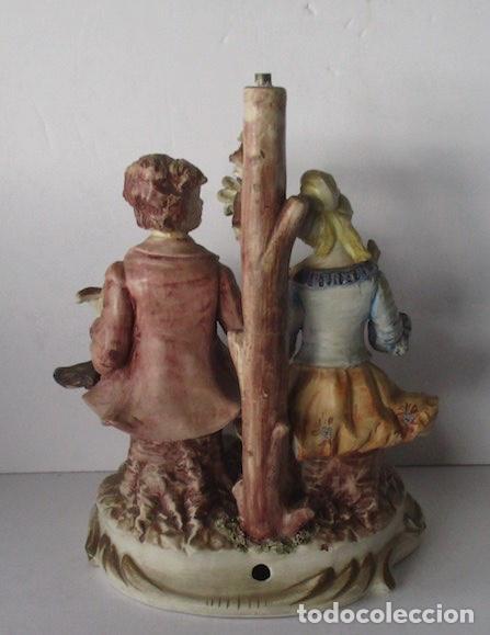 Antigüedades: LAMPARA DE PORCELANA - COMPOSICION PAREJA ROMANTICA DIECIOCHESCA - BASSANO - Foto 6 - 195926041