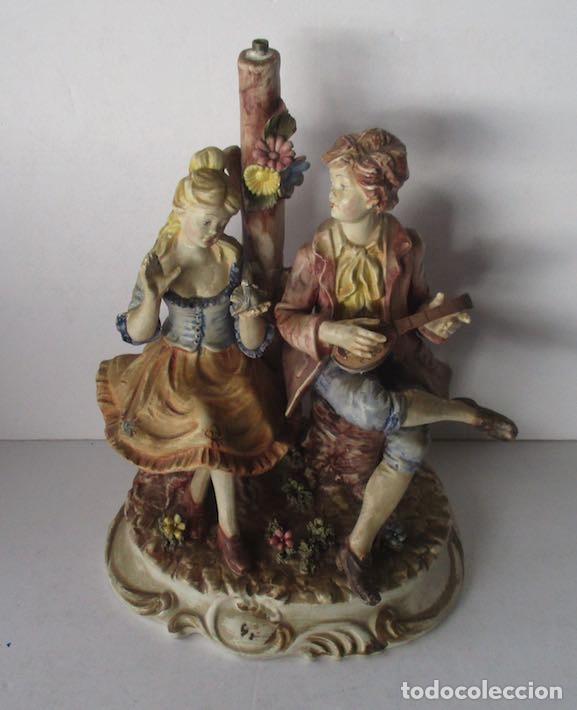 Antigüedades: LAMPARA DE PORCELANA - COMPOSICION PAREJA ROMANTICA DIECIOCHESCA - BASSANO - Foto 8 - 195926041