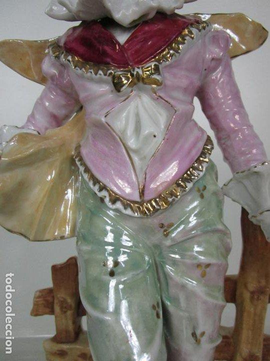 Antigüedades: Esplendida Gran Figura - Porcelana Biscuit Esmaltada - Alemania - 44 cm Altura - S. XIX - Foto 4 - 195944492