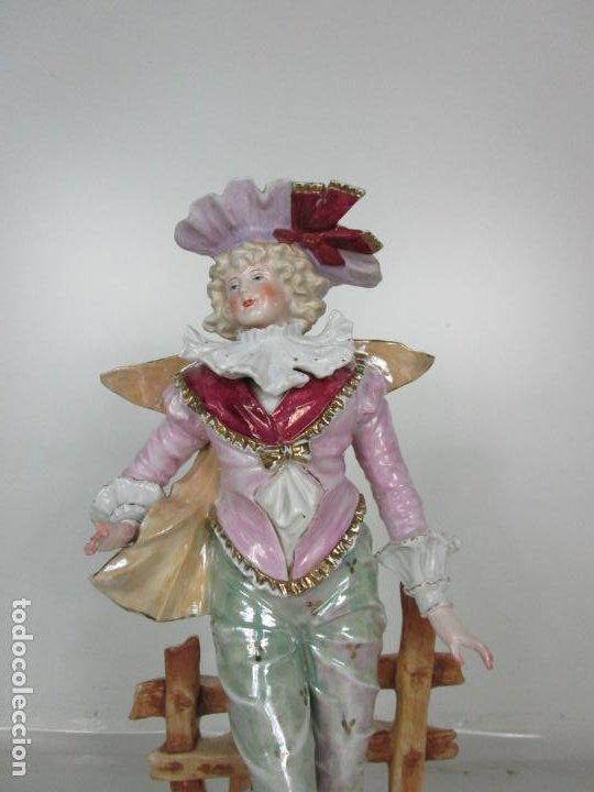 Antigüedades: Esplendida Gran Figura - Porcelana Biscuit Esmaltada - Alemania - 44 cm Altura - S. XIX - Foto 7 - 195944492