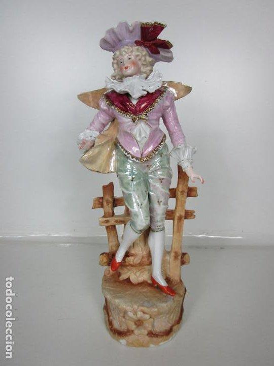 Antigüedades: Esplendida Gran Figura - Porcelana Biscuit Esmaltada - Alemania - 44 cm Altura - S. XIX - Foto 9 - 195944492