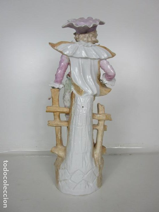 Antigüedades: Esplendida Gran Figura - Porcelana Biscuit Esmaltada - Alemania - 44 cm Altura - S. XIX - Foto 13 - 195944492