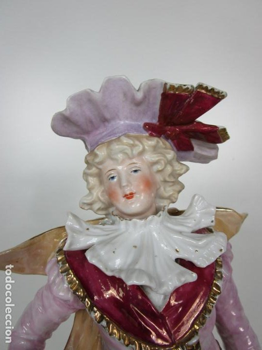 Antigüedades: Esplendida Gran Figura - Porcelana Biscuit Esmaltada - Alemania - 44 cm Altura - S. XIX - Foto 19 - 195944492