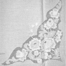 Antigüedades: GRAN MANTELERIA DE 12 SERVICIOS. CREPE DE ALGODÓN. BORDADSOS MANUALES. ESPAÑA. XIX-XX. Lote 195951865