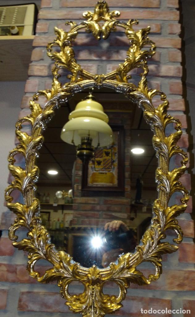 Antigüedades: ESPEJO DE BRONCE DORADO 95 cm x 49 cm - Foto 5 - 195957402