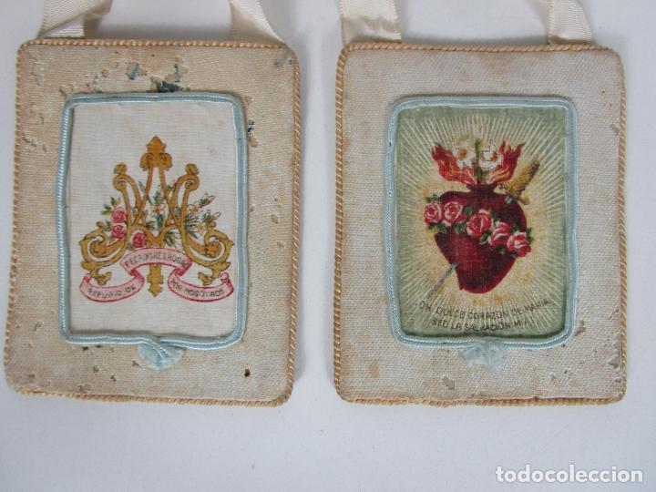 Antigüedades: Antiguo Escapulario - Sagrado Corazón - Dulce Corazón de María - Gran Tamaño - S. XIX - Foto 2 - 212439021