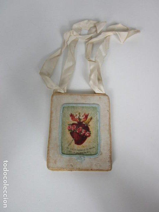 Antigüedades: Antiguo Escapulario - Sagrado Corazón - Dulce Corazón de María - Gran Tamaño - S. XIX - Foto 3 - 212439021