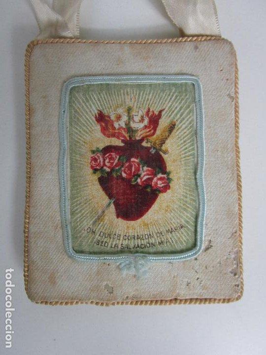 Antigüedades: Antiguo Escapulario - Sagrado Corazón - Dulce Corazón de María - Gran Tamaño - S. XIX - Foto 4 - 212439021