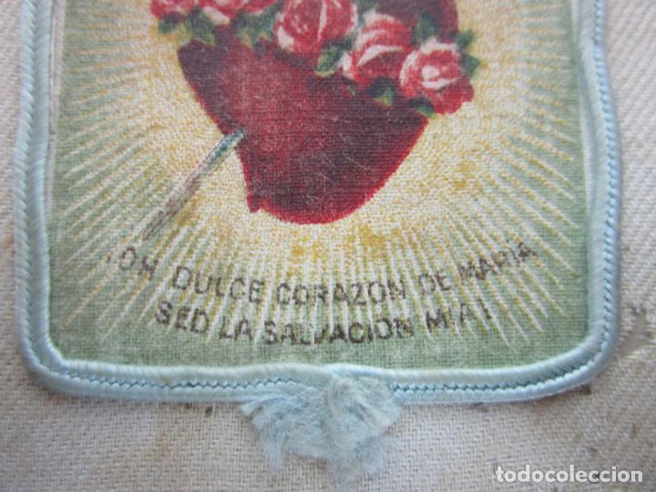 Antigüedades: Antiguo Escapulario - Sagrado Corazón - Dulce Corazón de María - Gran Tamaño - S. XIX - Foto 5 - 212439021
