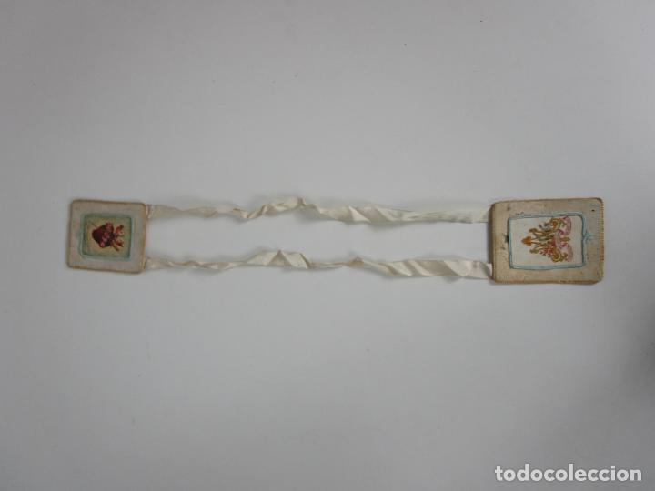 Antigüedades: Antiguo Escapulario - Sagrado Corazón - Dulce Corazón de María - Gran Tamaño - S. XIX - Foto 6 - 212439021
