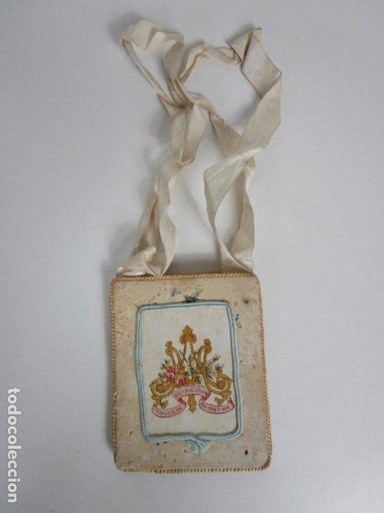 Antigüedades: Antiguo Escapulario - Sagrado Corazón - Dulce Corazón de María - Gran Tamaño - S. XIX - Foto 7 - 212439021