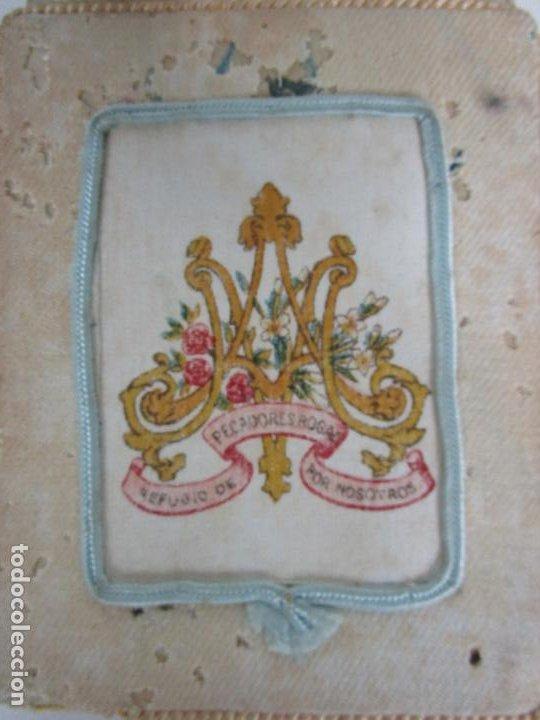 Antigüedades: Antiguo Escapulario - Sagrado Corazón - Dulce Corazón de María - Gran Tamaño - S. XIX - Foto 8 - 212439021