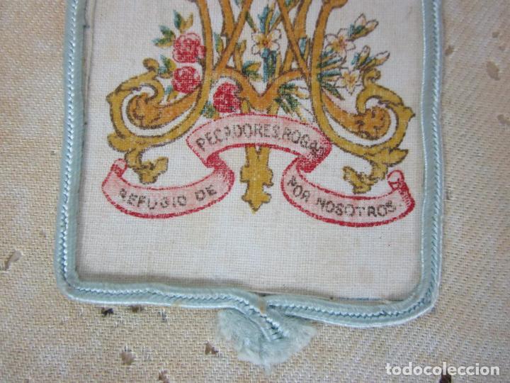 Antigüedades: Antiguo Escapulario - Sagrado Corazón - Dulce Corazón de María - Gran Tamaño - S. XIX - Foto 9 - 212439021