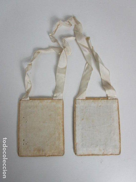 Antigüedades: Antiguo Escapulario - Sagrado Corazón - Dulce Corazón de María - Gran Tamaño - S. XIX - Foto 10 - 212439021