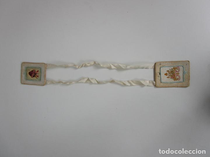 Antigüedades: Antiguo Escapulario - Sagrado Corazón - Dulce Corazón de María - Gran Tamaño - S. XIX - Foto 11 - 212439021