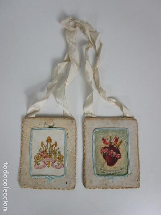 ANTIGUO ESCAPULARIO - SAGRADO CORAZÓN - DULCE CORAZÓN DE MARÍA - GRAN TAMAÑO - S. XIX (Antigüedades - Religiosas - Escapularios Antiguos)