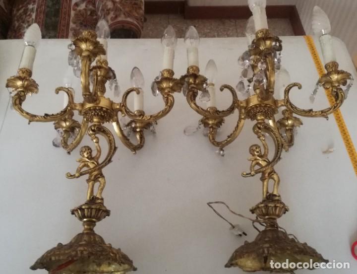 PAREJA CANDELABROS BRONCE ELECTRIFICADOS (Antigüedades - Iluminación - Candelabros Antiguos)