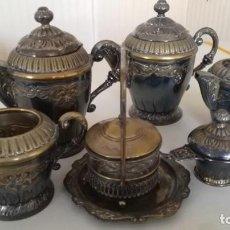 Antigüedades: JUEGO DE CAFE SEIS PIEZAS EN METAL. Lote 196025607