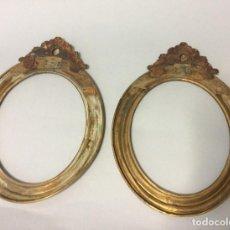 Antigüedades: PAREJA DE MARCOS DORADOS, SIGLO XIX,EN FORMA OVALADA 25X18CM. Lote 196044217