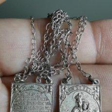 Antigüedades: ANTIGUO ESCAPULARIO PLATEADO -VIRGEN DEL CARMEN Y SAGRADO CORAZON DE JESUS. Lote 196082722