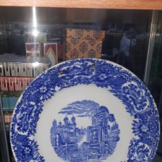 Antigüedades: ANTIGUO PLATO GRANDE ENSALADERA PICKMAN SEVILLA AZUL. Lote 196104917