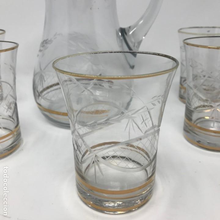 Antigüedades: Conjunto de jarra y vasos en cristal de bohemia - Foto 2 - 196109341