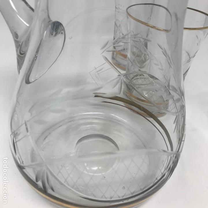 Antigüedades: Conjunto de jarra y vasos en cristal de bohemia - Foto 9 - 196109341