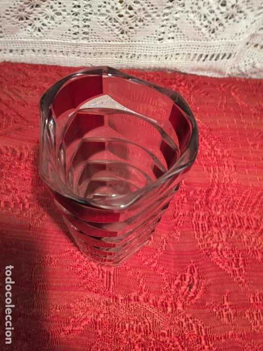 Antigüedades: Antiguo jarrón / florero de cristal tallado a mano de estilo Art Deco años 40-50 - Foto 2 - 196127465