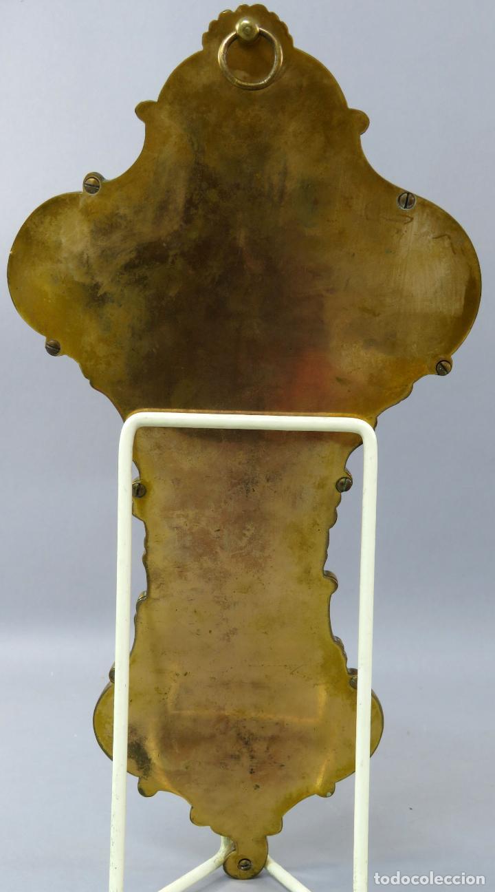 Antigüedades: Benditera de piedra onix con crucifijo en bronce y filos en esmalte cloisonne Francia siglo XIX - Foto 14 - 196189067