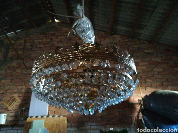 APLIQUE TECHO LAGRIMA CRISTAL (Antigüedades - Iluminación - Apliques Antiguos)