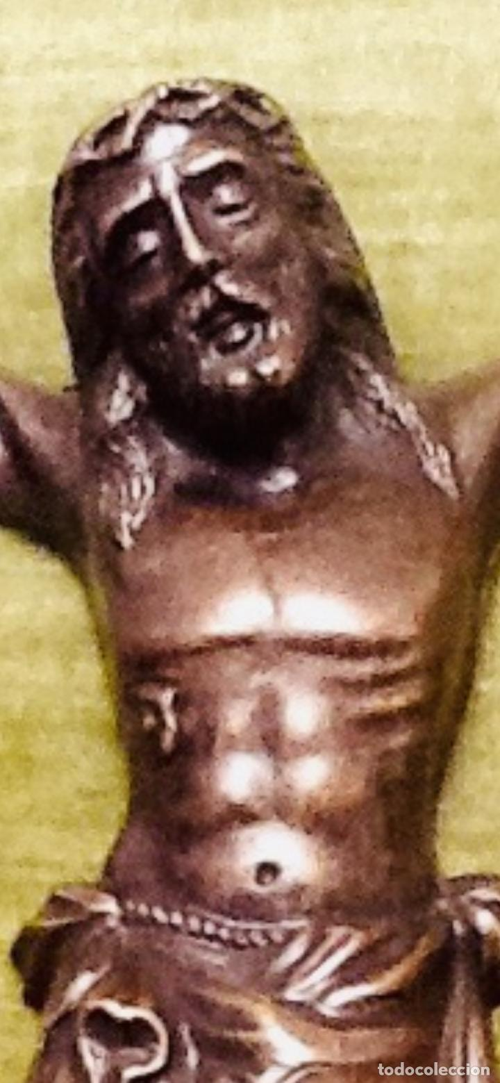 Antigüedades: Cristo Crucificado relieve cobre. Crucifixión /Jesucristo. 27x20. Años 70. Impecable. - Foto 6 - 155902470