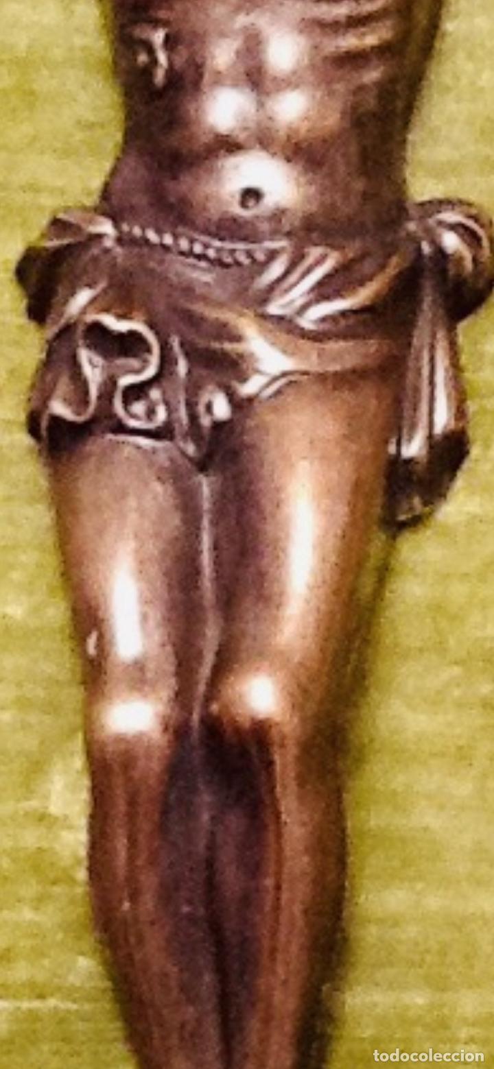 Antigüedades: Cristo Crucificado relieve cobre. Crucifixión /Jesucristo. 27x20. Años 70. Impecable. - Foto 7 - 155902470