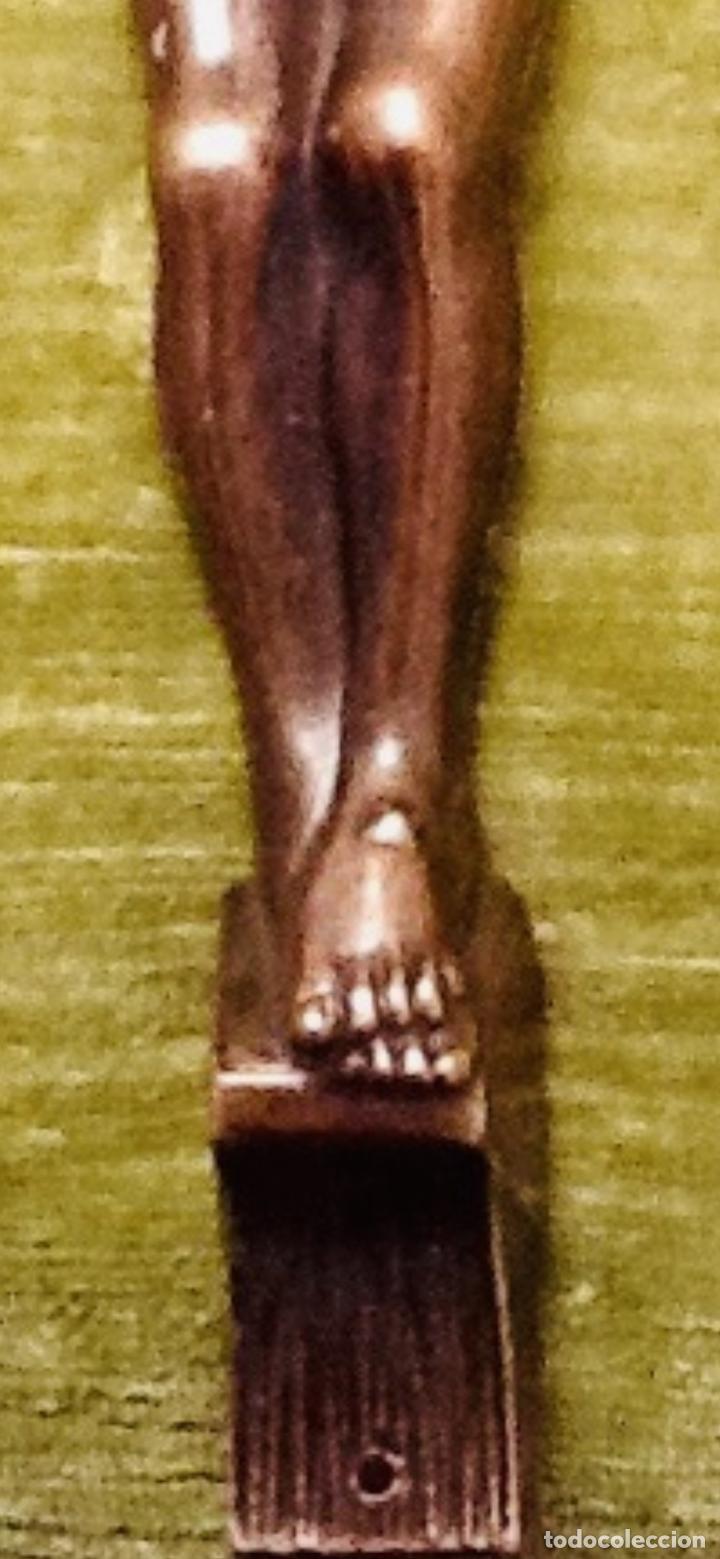 Antigüedades: Cristo Crucificado relieve cobre. Crucifixión /Jesucristo. 27x20. Años 70. Impecable. - Foto 8 - 155902470