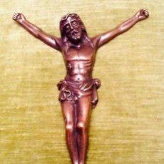 Antigüedades: CRISTO CRUCIFICADO RELIEVE COBRE. CRUCIFIXIÓN /JESUCRISTO. 27X20. AÑOS 70. IMPECABLE.. Lote 155902470