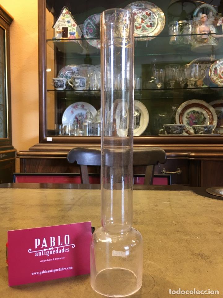 Hijos de Moliner (Valladolid) - Tulipa de cristal para lámpara de quinqué antigua - recambio, tubo segunda mano