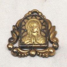 Antigüedades: RELICARIO MEDALLA VIRGEN MARIA PLATA BAÑO DE ORO FONDO NACAR. MED. 2,50 CM. Lote 196254607