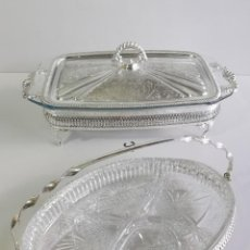 Antiquités: CONJUNTO ENTREMESA MAYELL EP ON STELL. ENGLAND. CRISTAL PYREX. .. Lote 196258946