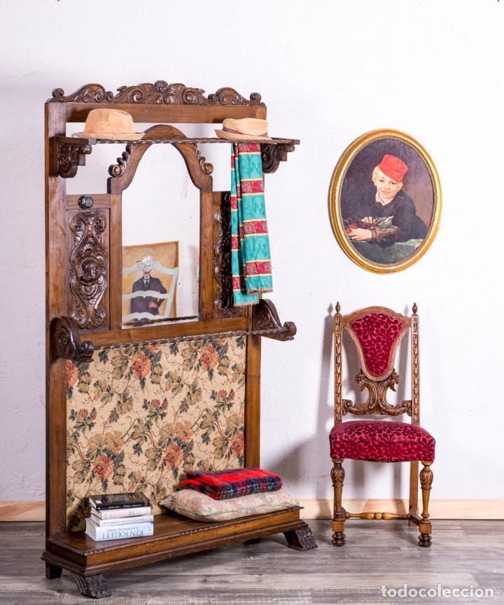 MUEBLE PERCHERO ANTIGUO DE MADERA (Antigüedades - Muebles Antiguos - Auxiliares Antiguos)