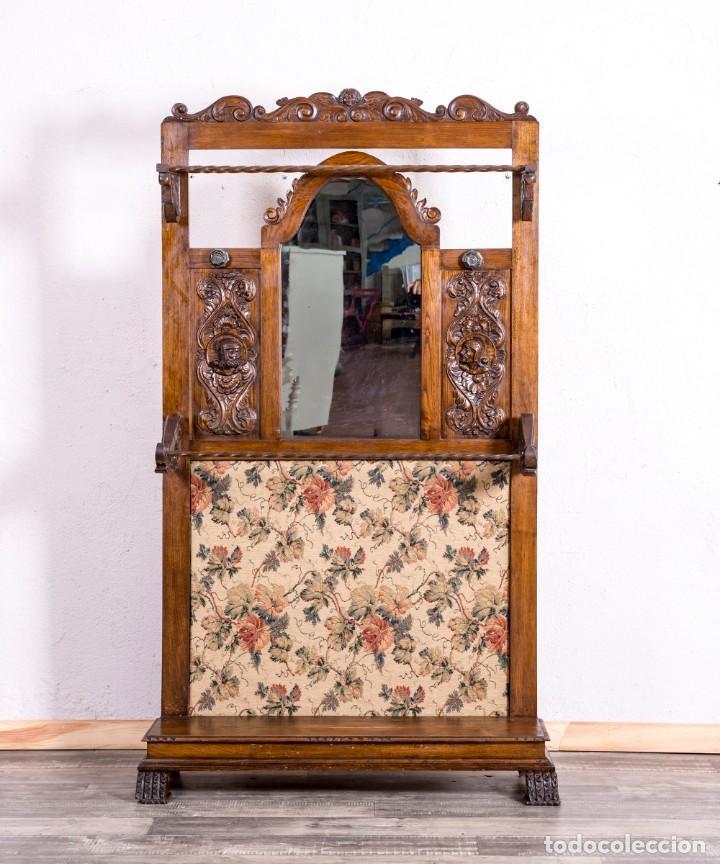 Antigüedades: Mueble Perchero Antiguo De Madera - Foto 3 - 196267633