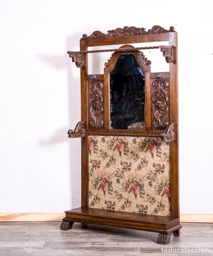 Antigüedades: Mueble Perchero Antiguo De Madera - Foto 4 - 196267633