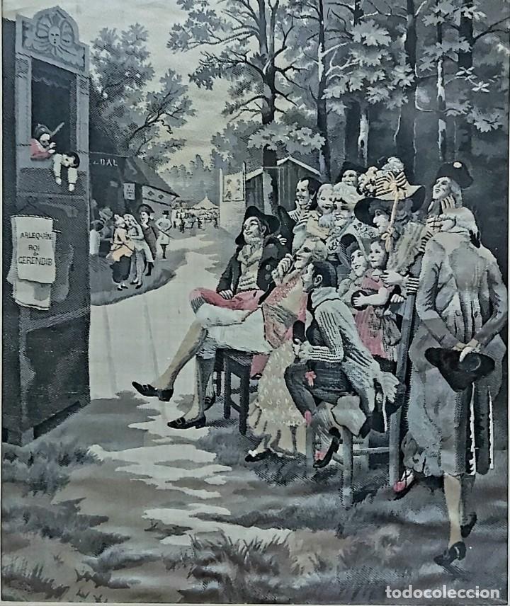 TAPIZ S.XIX JACQUARD EN SEDA DE NEYRET FRÉRES. FIRMADO A. LONZA (Antigüedades - Hogar y Decoración - Tapices Antiguos)
