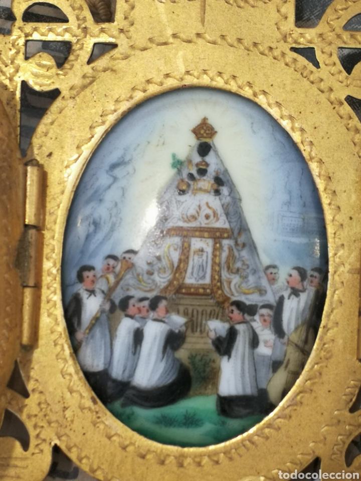 Antigüedades: Esmante pintado a mano. Virgen de Montserrat . Capillita - Foto 2 - 196288571