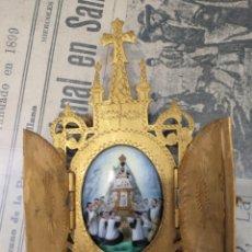 Antigüedades: ESMANTE PINTADO A MANO. VIRGEN DE MONTSERRAT . CAPILLITA. Lote 196288571